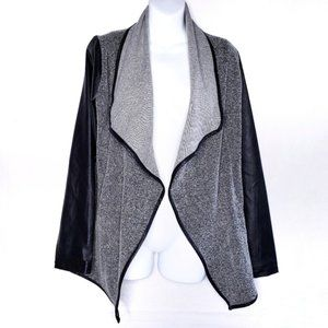 Jack by BB Dakota Tweed Jacket Gray Faux Leather